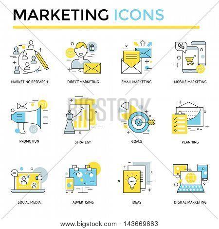 Marketing icons, thin line, flat design