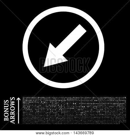 Down-Left Rounded Arrow icon with 1200 bonus arrow and direction pictograms. Vector illustration style is flat iconic symbols, white color, black background.