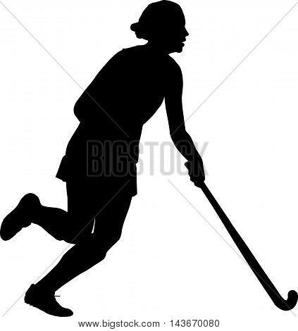 Silhouette Of Girl Ladies Hockey Player Dribbling  Ball