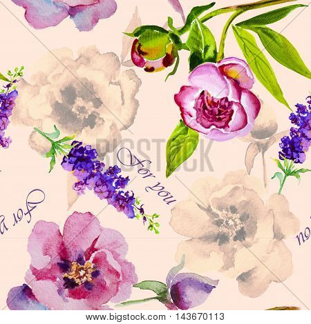 Watercolor flowers peonies. Handmade greeting cards. Floral seamless pattern