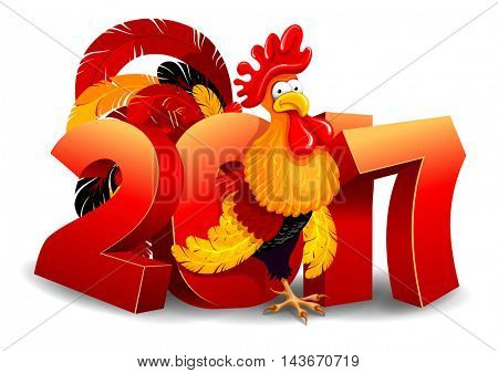 Cheerful vector illustration of cartoon Rooster and 2017 figures. New Year greeting. Rooster is a zodiac symbol of 2017 year by eastern calendar. Isolated on white background.