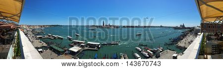 View from the restaurant on the cityscape of Venice and Grand Canal, Italy.