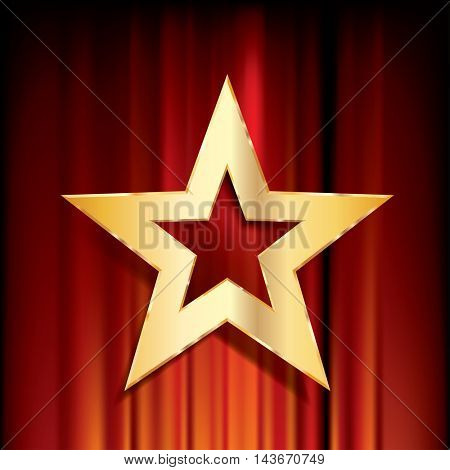 red curtain with golden star, vector background
