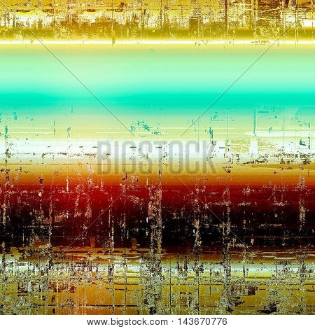 Vintage decorative texture with grunge design elements and different color patterns: yellow (beige); brown; blue; red (orange); white; cyan