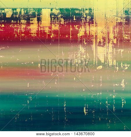 Grunge texture, aged or old style background with retro design elements and different color patterns: yellow (beige); green; blue; red (orange); purple (violet); pink