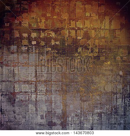Vintage template or background with grungy texture, antique decor and different color patterns: yellow (beige); brown; black; red (orange); gray