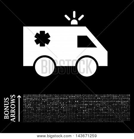 Emergency Car icon with 1200 bonus arrow and navigation pictograms. Vector illustration style is flat iconic symbols, white color, black background.