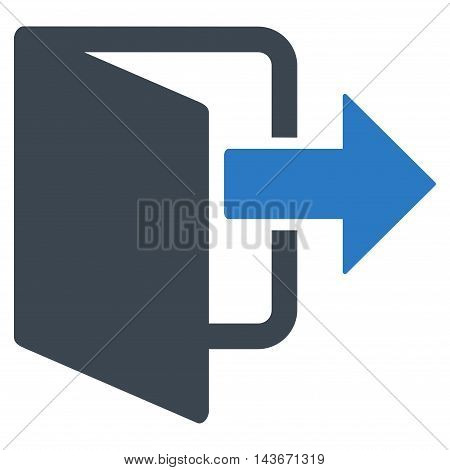 Exit Door icon. Vector style is bicolor flat iconic symbol with rounded angles, smooth blue colors, white background.