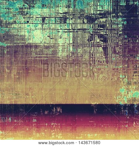 Old grunge vintage background or shabby texture with different color patterns: yellow (beige); brown; green; blue; purple (violet); pink