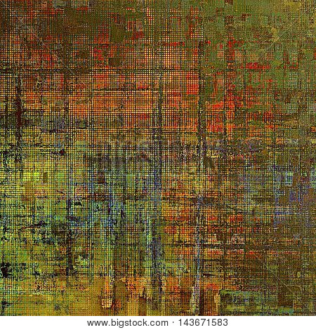 Vintage style background with ancient grunge elements. Aged texture with different color patterns: yellow (beige); brown; green; blue; red (orange); gray
