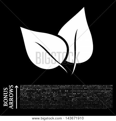 Flora Plant icon with 1200 bonus arrow and direction pictograms. Vector illustration style is flat iconic symbols, white color, black background.