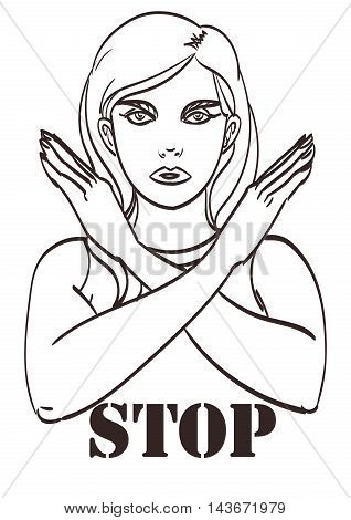 Vector lineart poster girl shows stop arms. Eps 10.