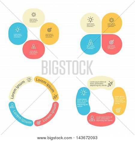 Circular infographics with 4 sections. Vector template.