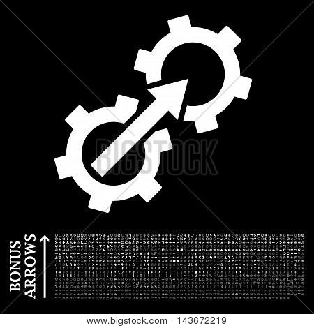 Gear Integration icon with 1200 bonus arrow and direction pictograms. Vector illustration style is flat iconic symbols, white color, black background.
