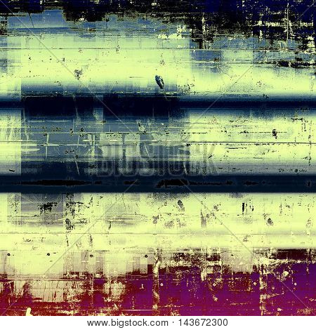 Colorful vintage background, grunge texture with scratches, stains and different color patterns: yellow (beige); brown; black; blue; purple (violet); pink