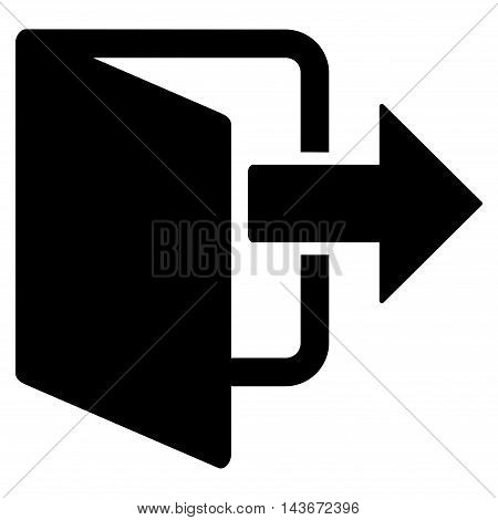 Exit Door icon. Vector style is flat iconic symbol with rounded angles, black color, white background.