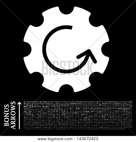 Gear Rotation icon with 1200 bonus arrow and navigation pictograms. Vector illustration style is flat iconic symbols, white color, black background.
