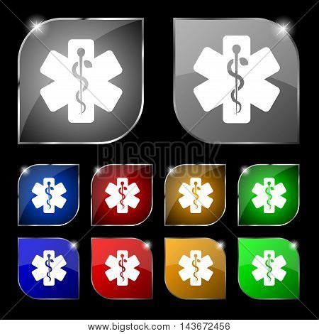 Medicine Icon Sign. Set Of Ten Colorful Buttons With Glare. Vector
