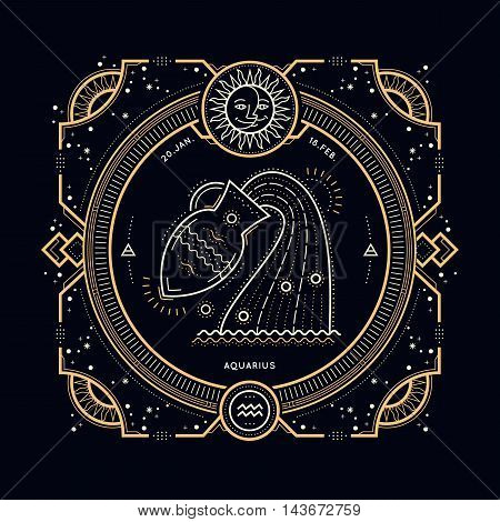 Vintage thin line Aquarius zodiac sign label. Retro vector astrological symbol, mystic, sacred geometry element, emblem, logo. Stroke outline illustration.