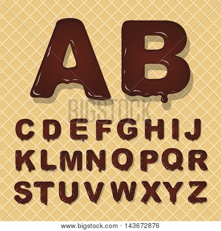 latin capital alphabet made of chocolate. A and B  Font style.