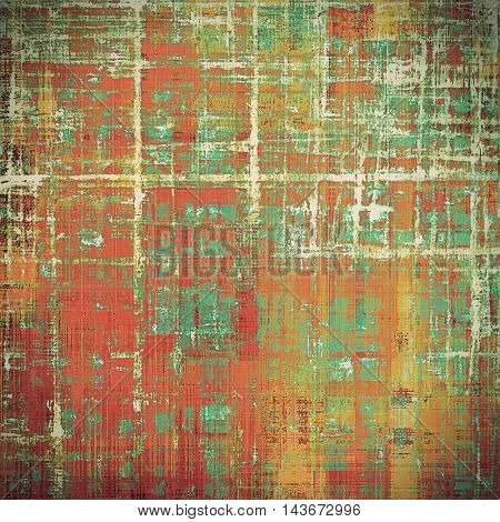 Retro style abstract background, aged graphic texture with different color patterns: yellow (beige); brown; green; blue; red (orange); pink