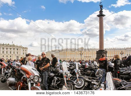 St. Petersburg, Russia - 12 August, People and motorcycles on the Palace Square, 12 August, 2016. The annual parade of Harley Davidson in the squares and streets of St. Petersburg.