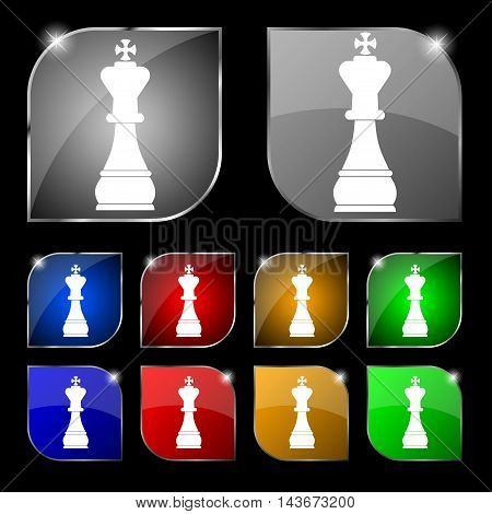 Chess King Icon Sign. Set Of Ten Colorful Buttons With Glare. Vector