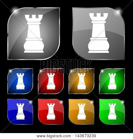 Chess Rook Icon Sign. Set Of Ten Colorful Buttons With Glare. Vector