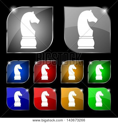 Chess Knight Icon Sign. Set Of Ten Colorful Buttons With Glare. Vector