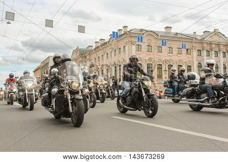 St. Petersburg, Russia - 12 August, Bikers traveling on Nevsky Prospect, 12 August, 2016. The annual parade of Harley Davidson in the squares and streets of St. Petersburg.