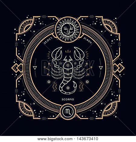 Vintage thin line Scorpio zodiac sign label. Retro vector astrological symbol, mystic, sacred geometry element, emblem, logo. Stroke outline illustration.