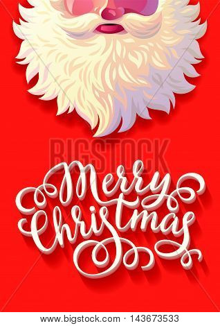 Vector illustration background of Santa Claus with congratulations. Postcard, Greeting Card, Poster,