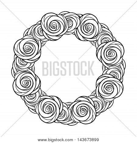 Vector stylized roses black and white frame. EPS 8