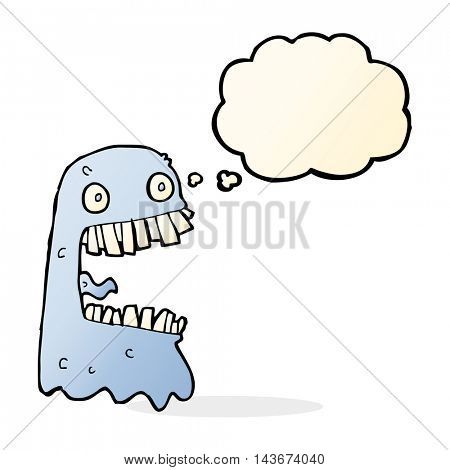cartoon gross ghost with thought bubble