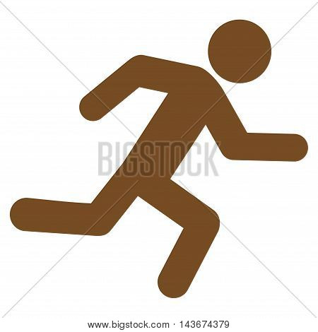 Running Man icon. Vector style is flat iconic symbol with rounded angles, brown color, white background.