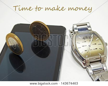 Abstract composition of time and money. Isolated on white background