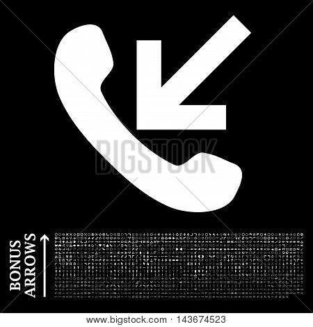 Incoming Call icon with 1200 bonus arrow and direction pictograms. Vector illustration style is flat iconic symbols, white color, black background.