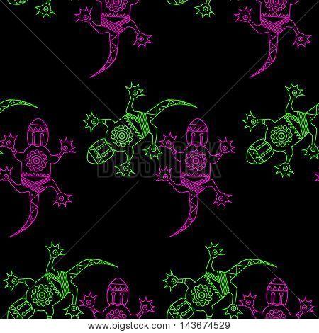 Salamander. Vector flat illustration on black background. Seamless pattern of Hawaiian motif.