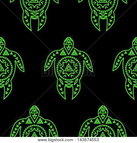 Seamless pattern with turtles. Vrctor flat illustration for print