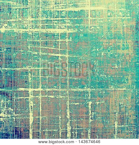 Retro style background with grungy vintage texture and different color patterns: yellow (beige); brown; blue; cyan; pink