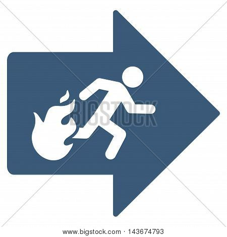 Fire Exit icon. Vector style is flat iconic symbol with rounded angles, blue color, white background.