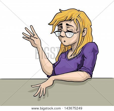 hand drawn, blonde girl, talking vector illustration