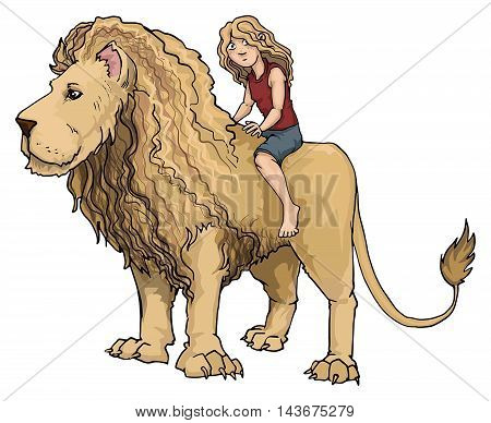 Hand drawn lion king, with a human girl riding on it's back, isolated on white, vector illustration
