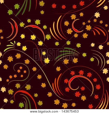 Seamless pattern with colored maple leaves and ornament on Burgundy background
