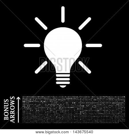 Light Bulb icon with 1200 bonus arrow and navigation pictograms. Vector illustration style is flat iconic symbols, white color, black background.