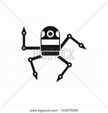Spider robot icon in simple style isolated on white background