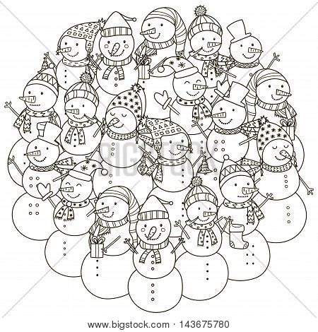 Circle shape pattern with cute snowmen for coloring book. Vector illustration