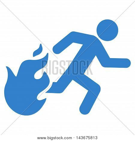 Fired Running Man icon. Vector style is flat iconic symbol with rounded angles, cobalt color, white background.
