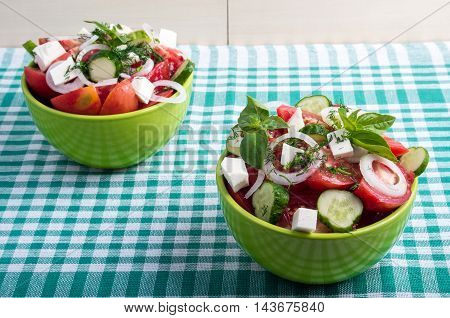 Useful Vegetarian Food From Raw Tomatoes, Cucumbers And Onions