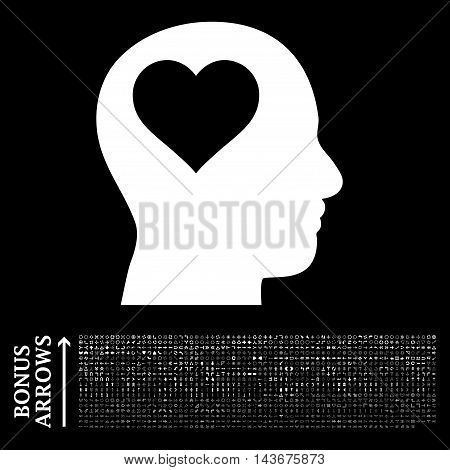 Lover Head icon with 1200 bonus arrow and navigation pictograms. Vector illustration style is flat iconic symbols, white color, black background.